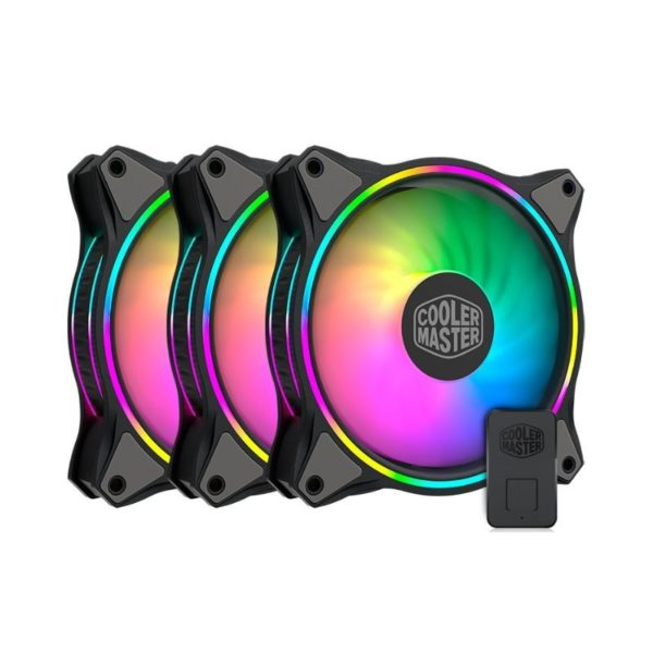 cooler master masterfan mf120 halo argb triple fan pack with controller a