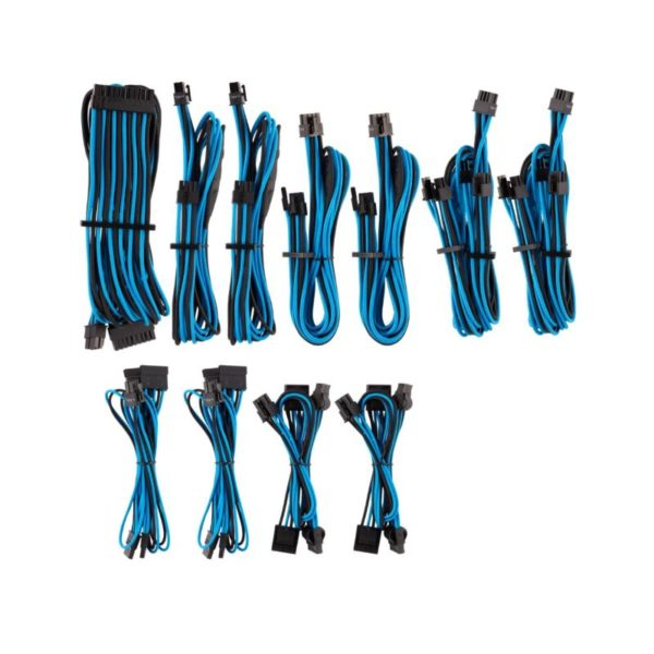 corsair premium individually sleeved psu cables pro kit black blue a