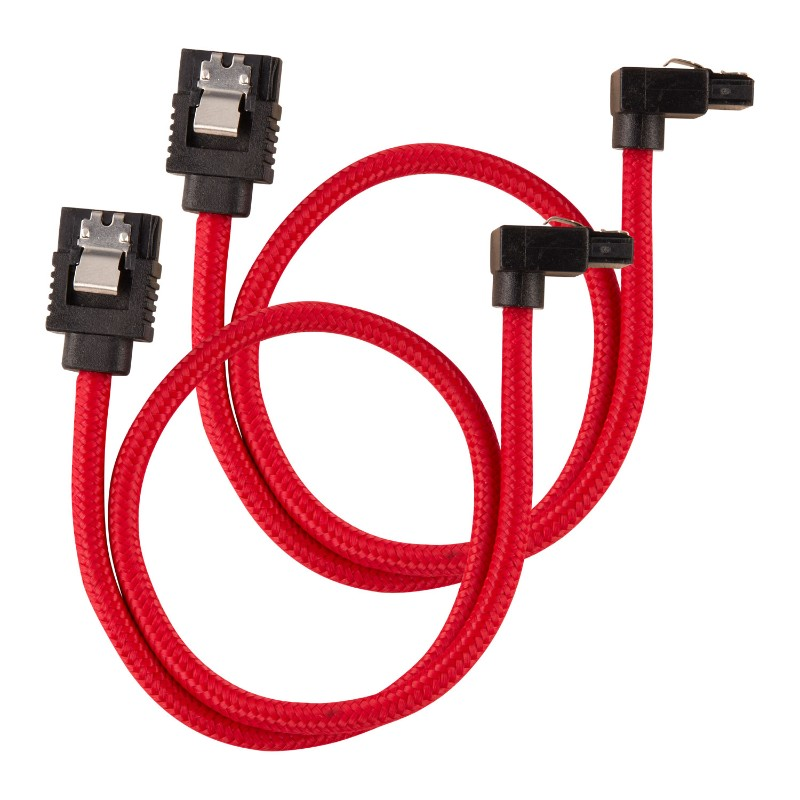 corsair sleeved sata cable 30cm l shape red a