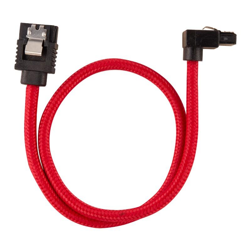 corsair sleeved sata cable 30cm l shape red b