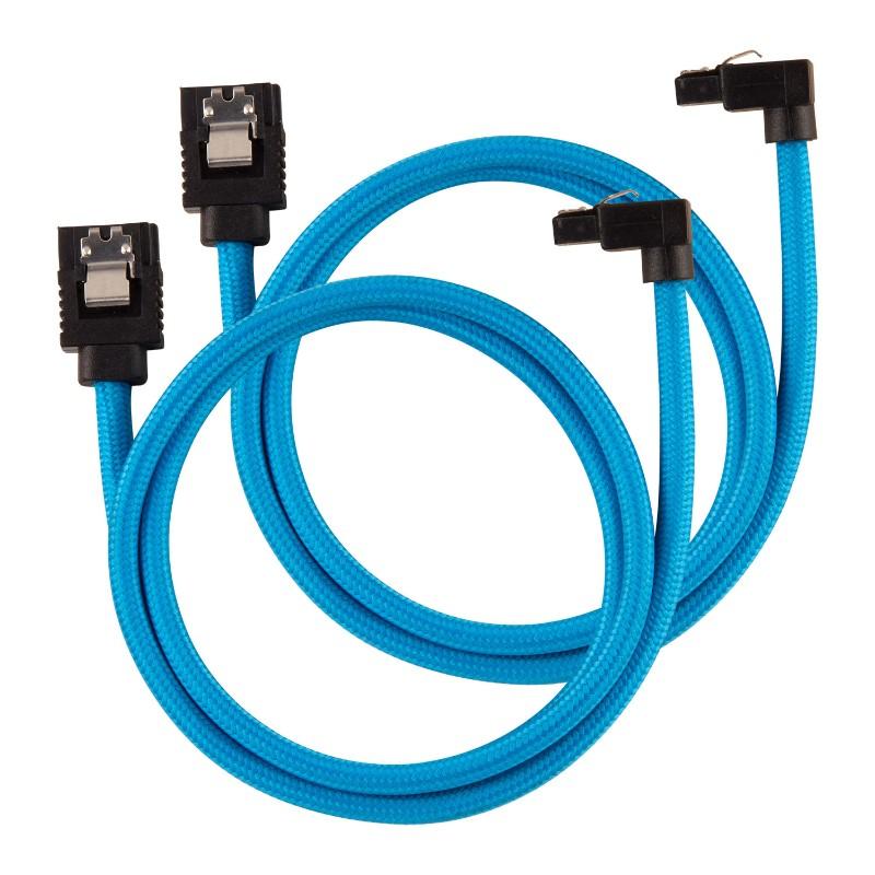 corsair sleeved sata cable 60cm l shape blue a