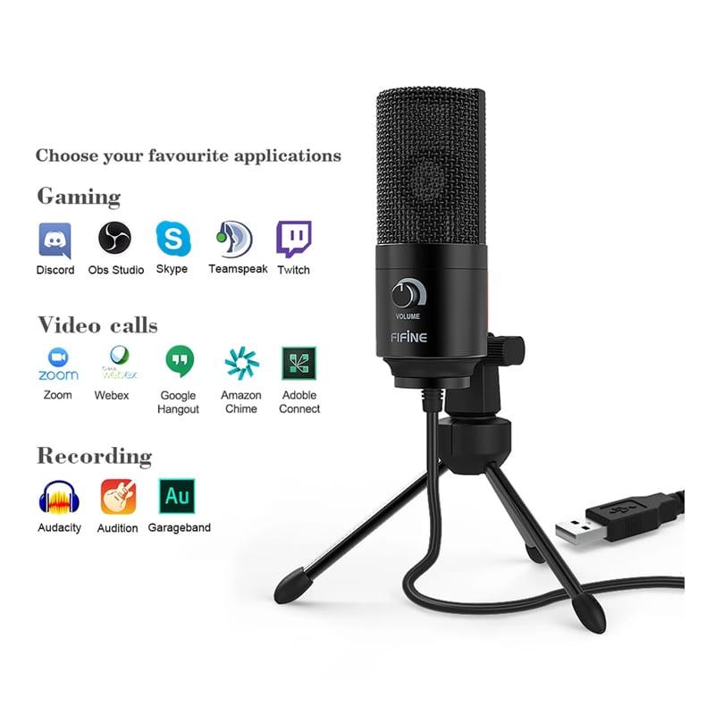 fifine k669b cardioid usb condensor microphone with tripod c 2