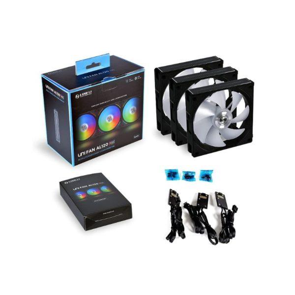 lian li uni fan al120 argb triple case fan pack with controller black a