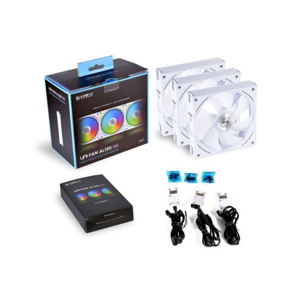 lian li uni fan al120 argb triple case fan pack with controller white a