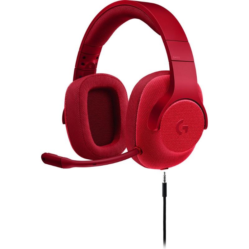 logitech g433 gaming headset red c
