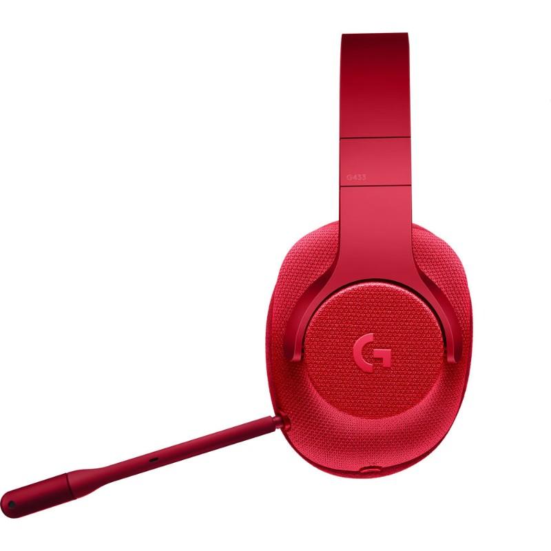 logitech g433 gaming headset red d