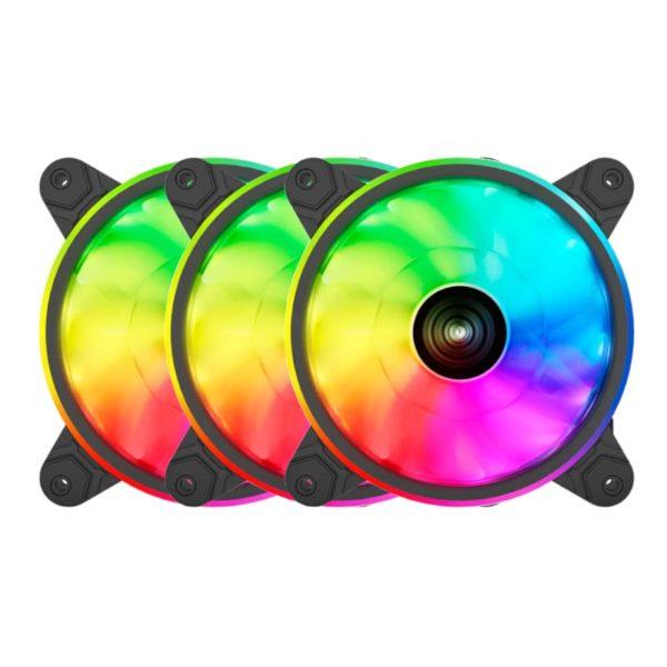 raidmax nv t120fbr3 120mm argb triple case fan pack black a